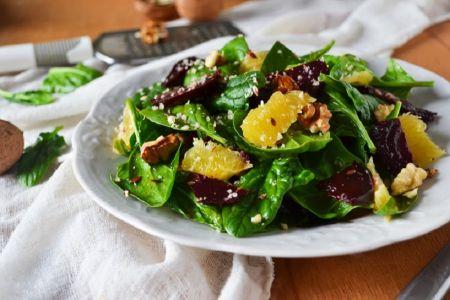 Spinat Salat mit Orangen