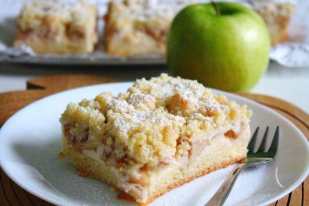 Apfelkuchen mit Pudding und Streusel